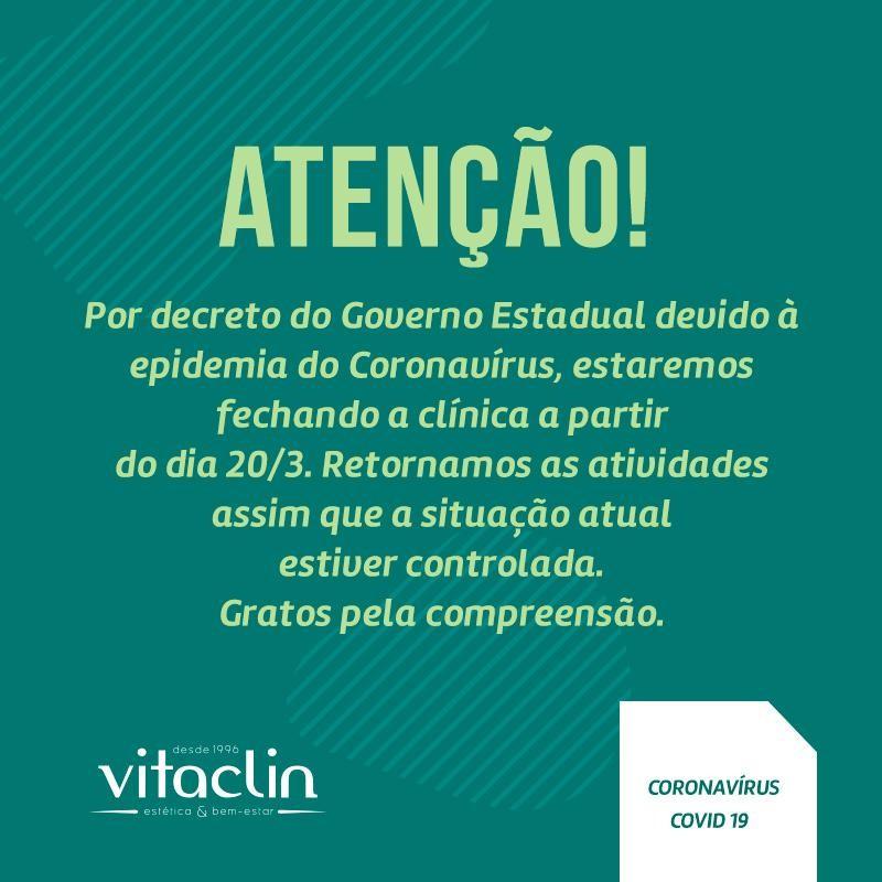 ATENÇÃO Por decreto do Governo Estadual, devida à epidemia do CORONAVÍRUS, estaremos fechando a Clínica a partir do dia 20/03. Retornamos as atividades a partir do dia 01/05. Gratos pela compreensão.